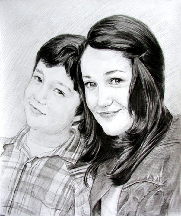 charcoal drawing of persons