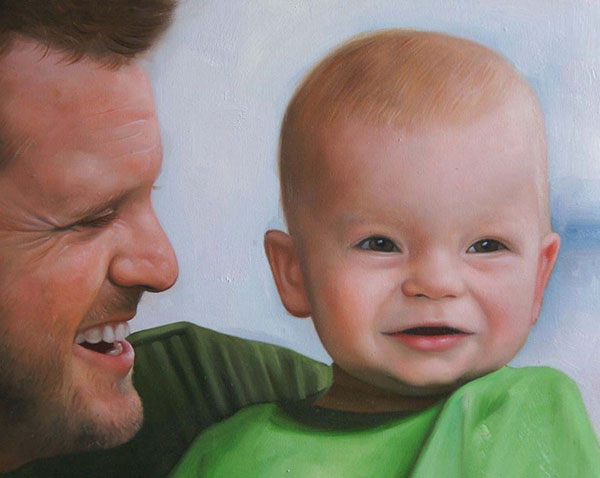 an oil painting of father and his boy