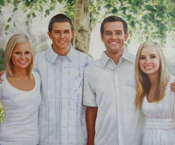 an oil painting of a family in white
