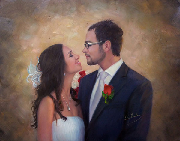photo to oil painting of wedding couple looking at eachother