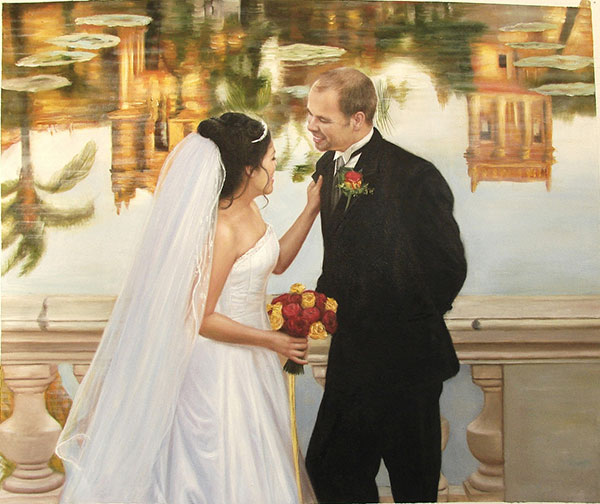 an oil painting of wedding couple near a pond