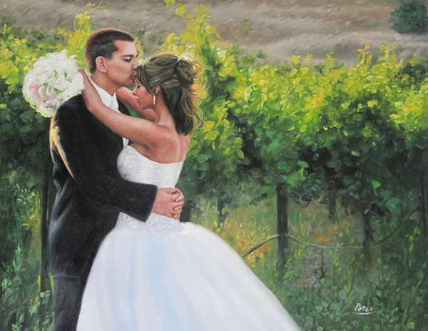 an oil painting of groom kissing the bride on the head