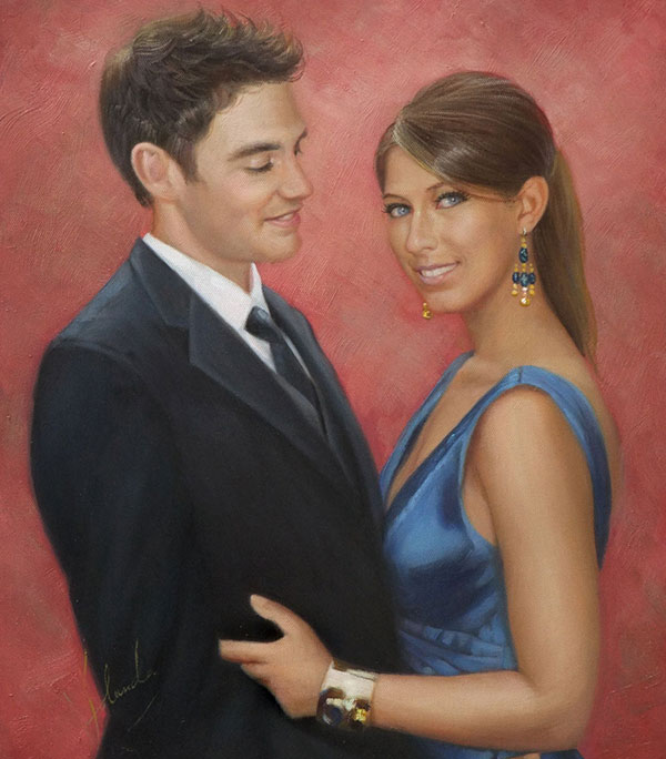 custom oil painting of man and woman in classy clothes