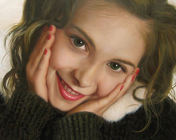 photo to oil painting of a beautiful girl