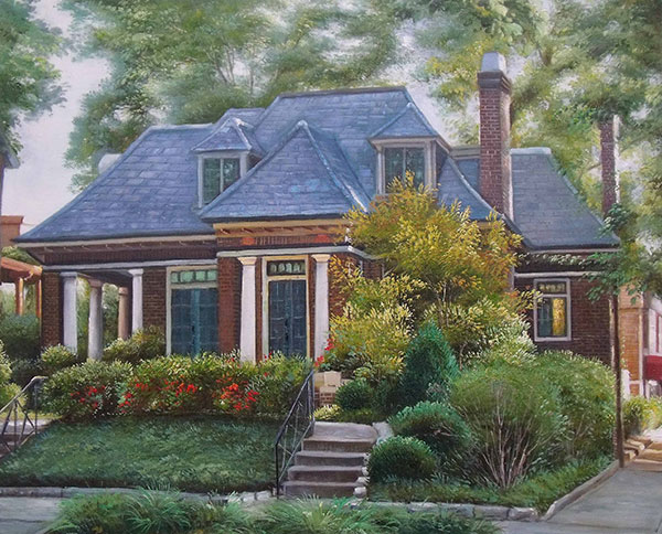 Handmade oil painting of a dark brick house