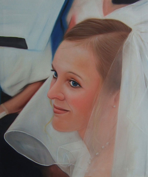 an oil painting of the bride with blue eyes