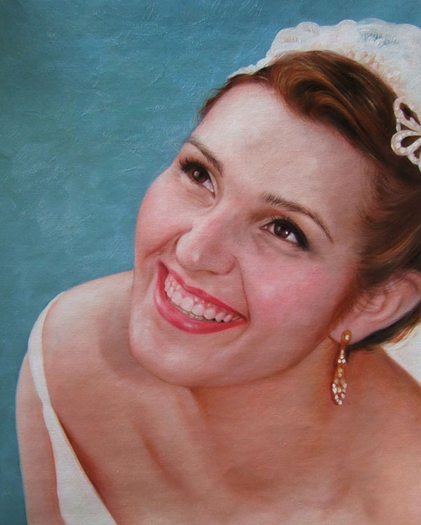a custom oil painting of a bride smiling blue backdrop