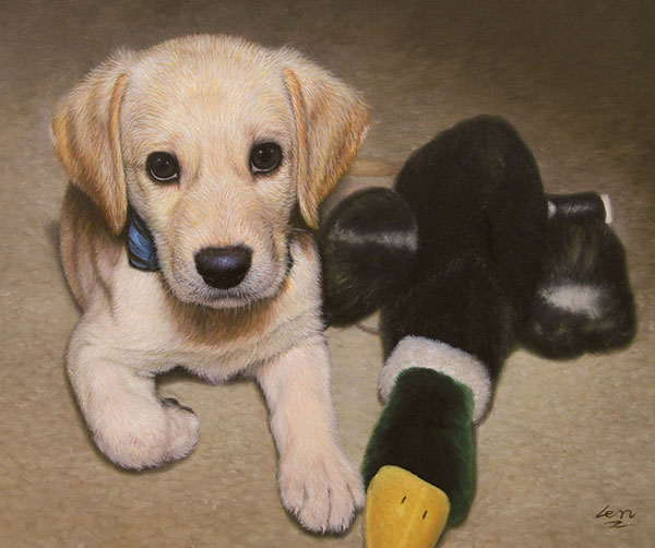 oil portrait of a little puppy
