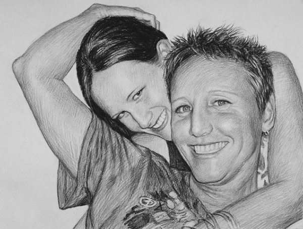 charcoal drawing couple