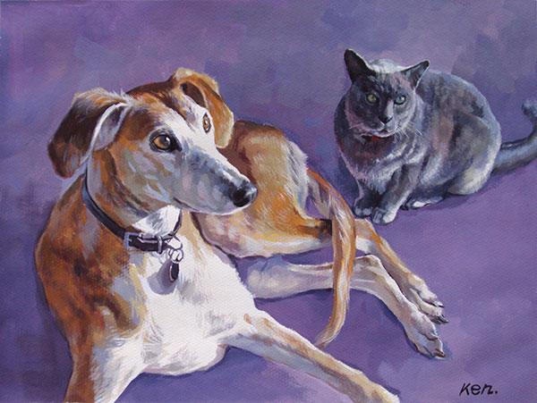 Pintura al pastel, foto a cuadro, mascotas, perro y gato