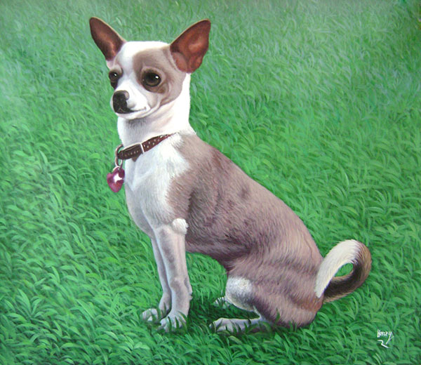 dog painting in acrylic