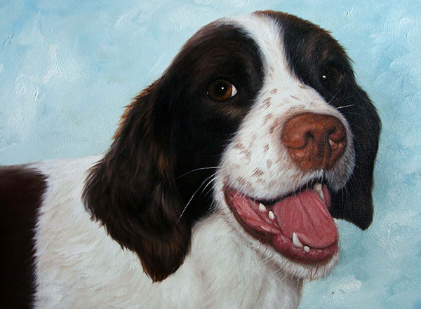 Custom oil painting of a smiling spaniel