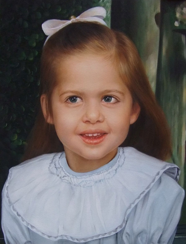 a custom oil portrait of a little girl in white outfit
