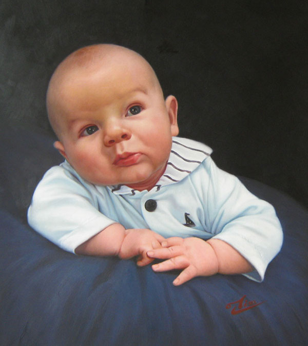 an oil painting of a toddler laying on a cushin