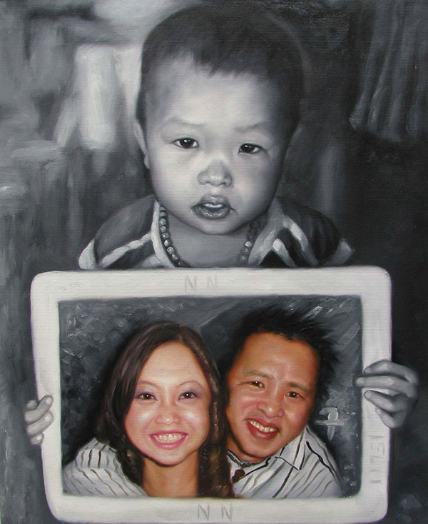 an oil painting of a child holding a painting of his parents