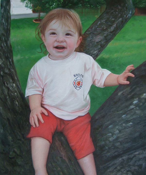 a custom oil painting of a child on a tree