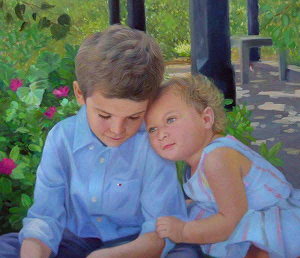an oil painting of siblings hugging outdoors