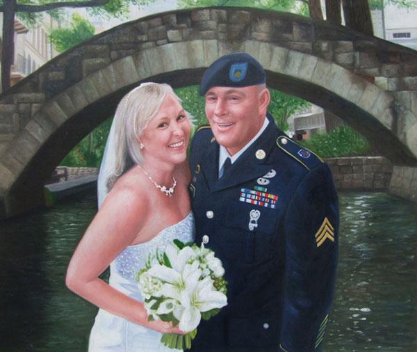 a custom oil painting of couple near city river