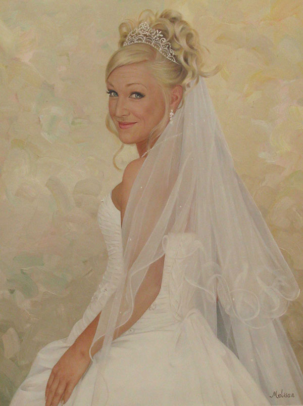 an oil painting of a blonde bride