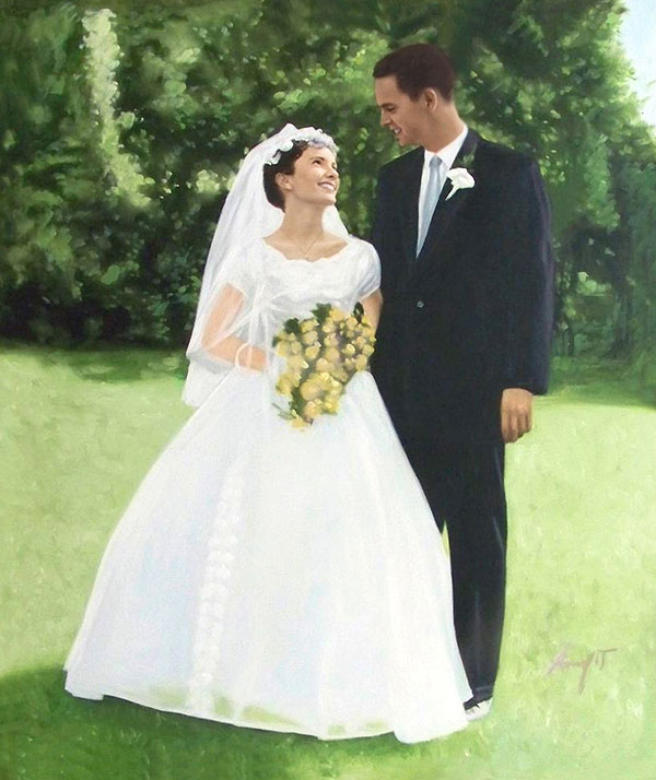 an oil painting of couple outdoors