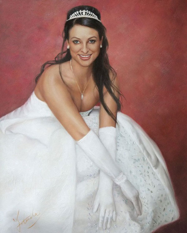 an oil painting of a bride with red backdrop