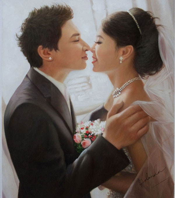 oil wedding portrait of a couple touching noses