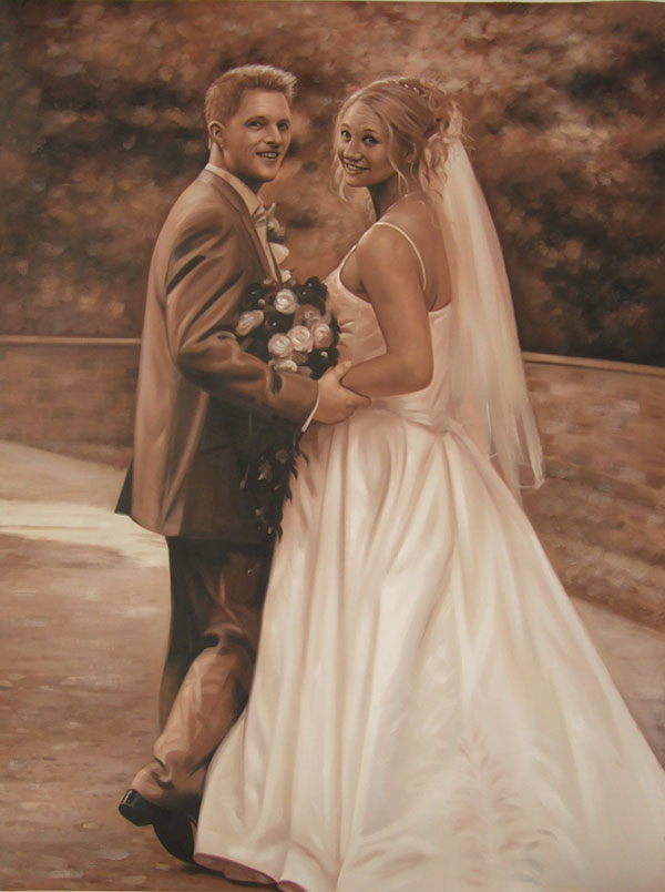 a sephia oil painting of a wedding couple outdoors