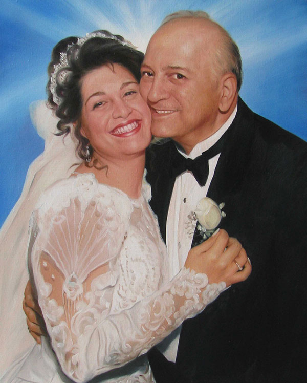 a wedding portrait of elderly couple