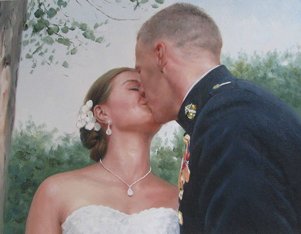 a custom oil painting of wedding couple kissing