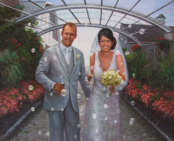 an oil painting of a wedding couple in the garden