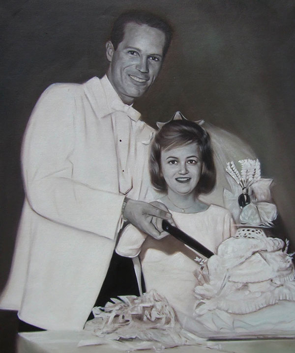 black and white oil painting of a wedding couple cake