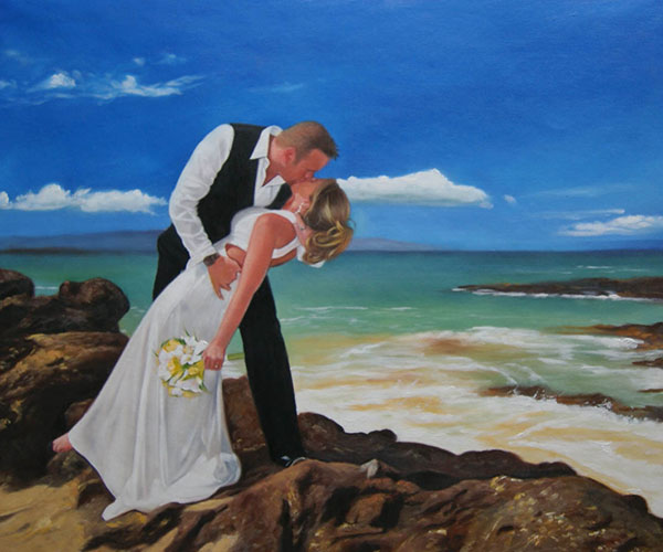 a custom oil painting of of groom kissing bride at the beach