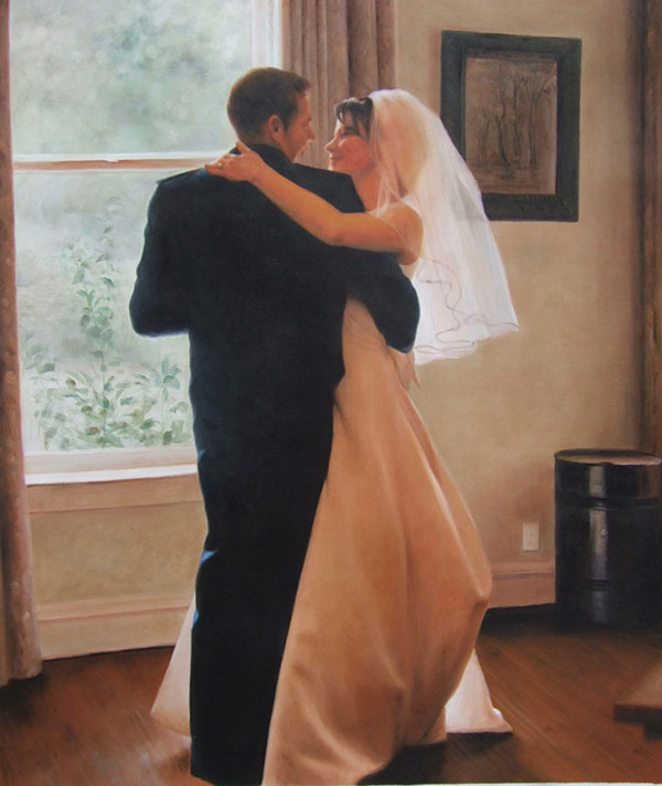 an oil painting of a wedding couple dancing alone