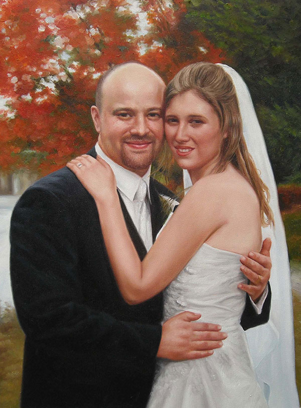 an oil painting of a wedding couple hugging fall