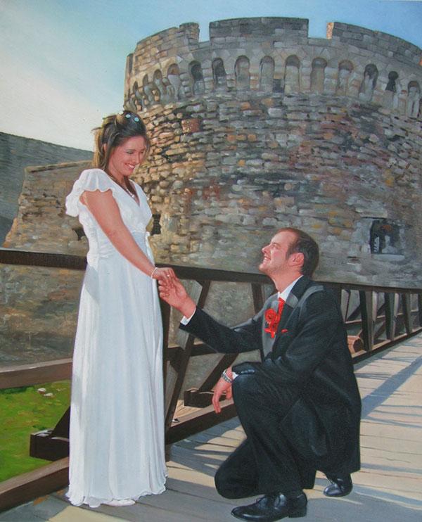 an oil painting of a groom kneeling before his bride