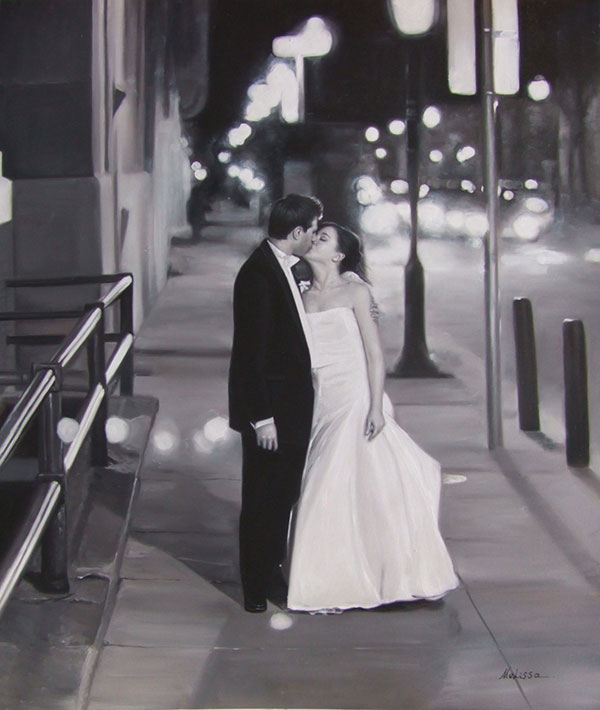 a black and white oil painting of a wedding couple kissing