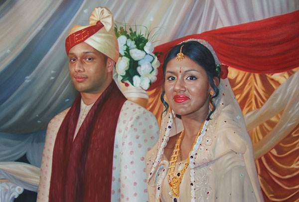a custom oil painting of an indian wedding couple