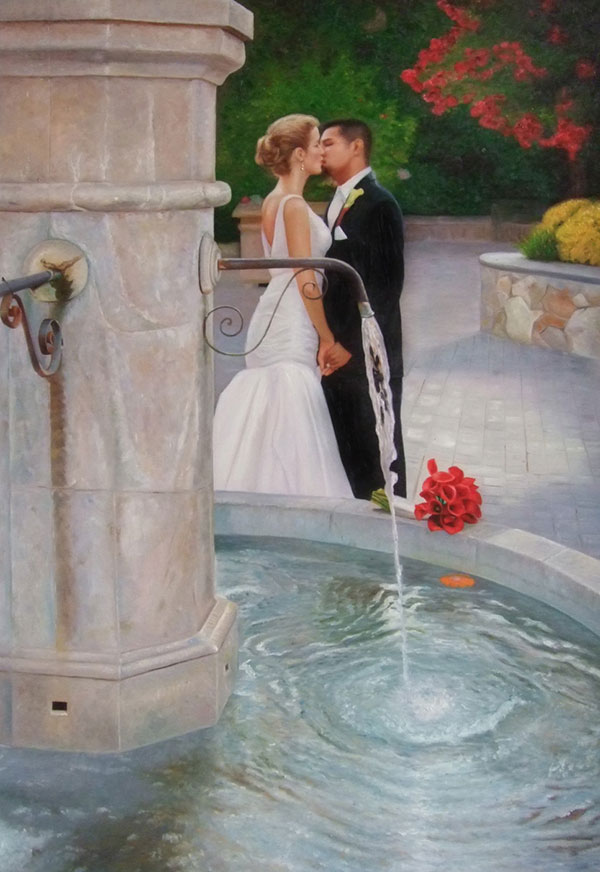 a custom oil painting of a wedding couple kissing outdoors