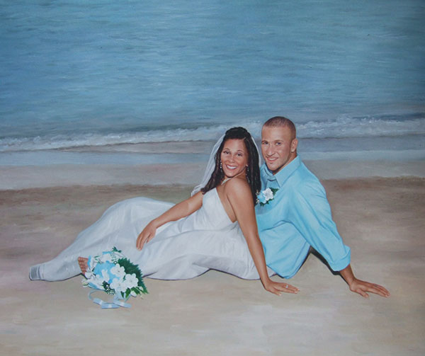 an oil painting of a wedding couple sitting by the beach