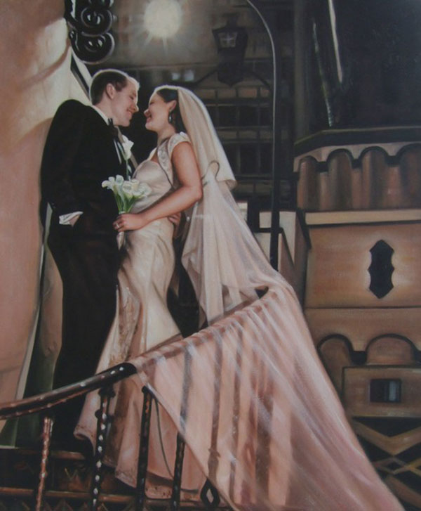 an oil painting of wedding couple on the stairs