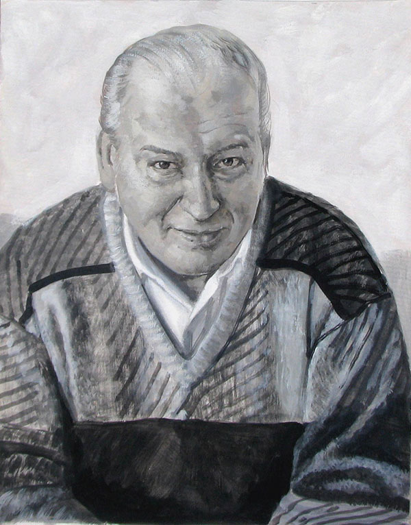 black and white pastel painting