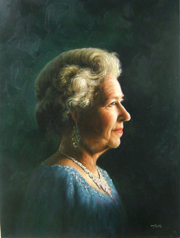 an oil paiuting of the queen elisabeth