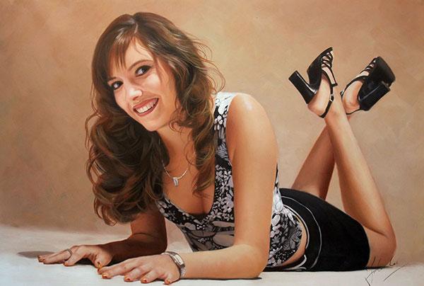 dipinto ad olio giovane donna da fotografia