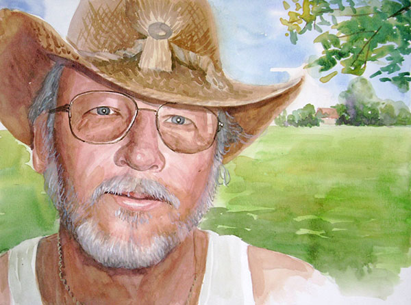 custom watercolor painting of man in cowboy hat by field