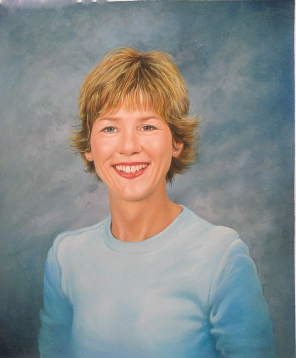 a custom portrait of a blonde woman with short hair