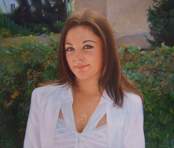 an oil portrait of a woman in the park