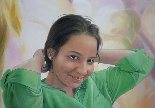 a custom oil paiunting of a beautiful young woman