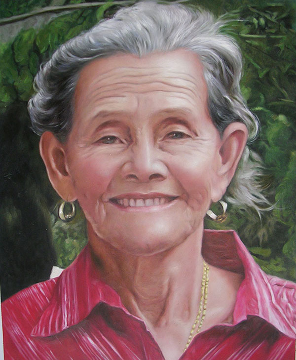 an oil painting of an ederly woman