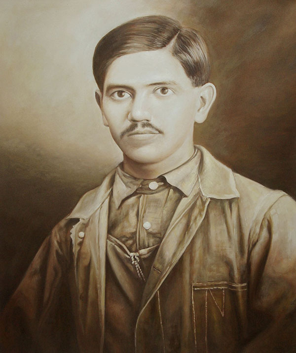 custom acrylic sepia painting of man with moustache