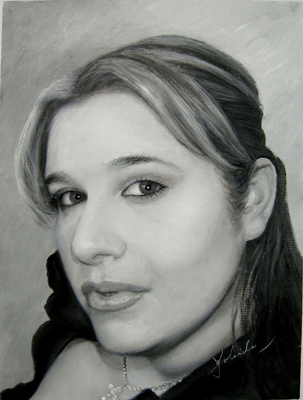 custom acrylic black and white portrait of woman